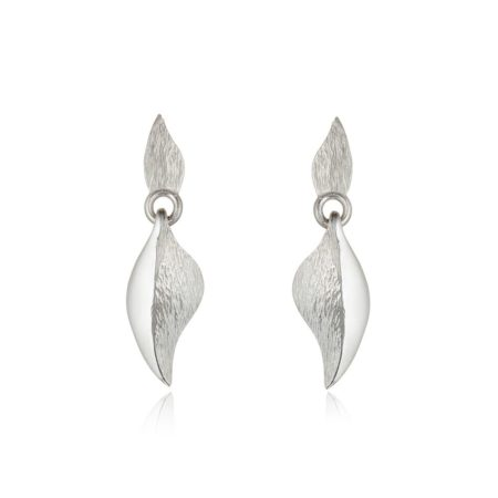 silver textured short leaf drop earrings