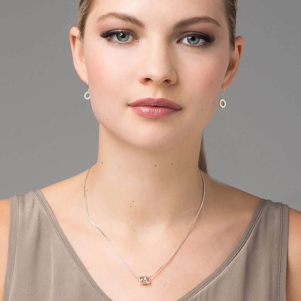 Silver trio pendant and earrings
