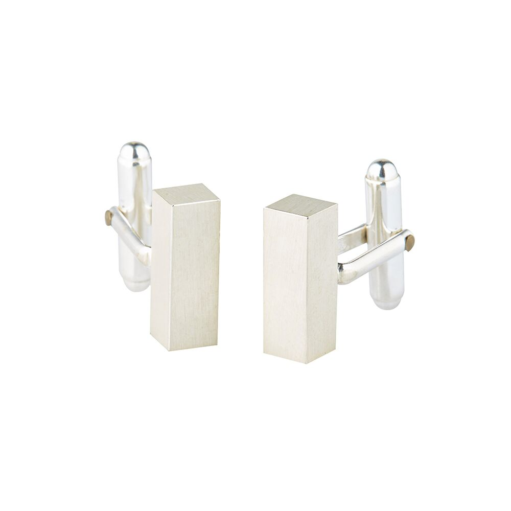 Square bar silver cufflinks