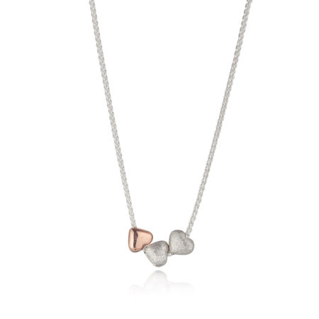 TWO SILVER AND ONE ROSE GOLD HEART ON A SILVER CHAIN