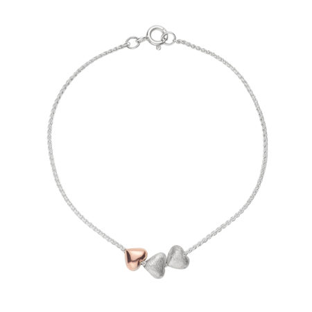 ROSE GOLD AND SILVER TINY HEARTS ON CHAIN BRACELET