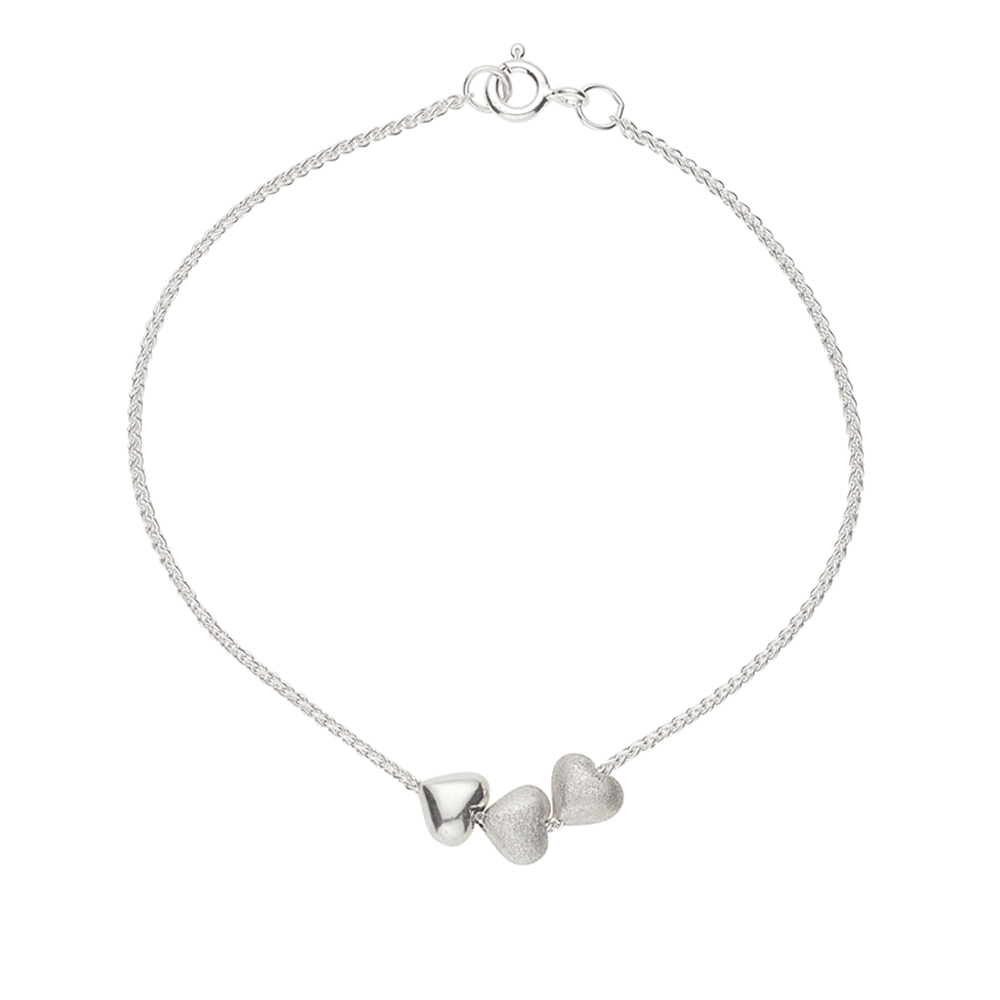 THREE TINY SILVER HEARTS ON SILVER CHAIN BRACELET