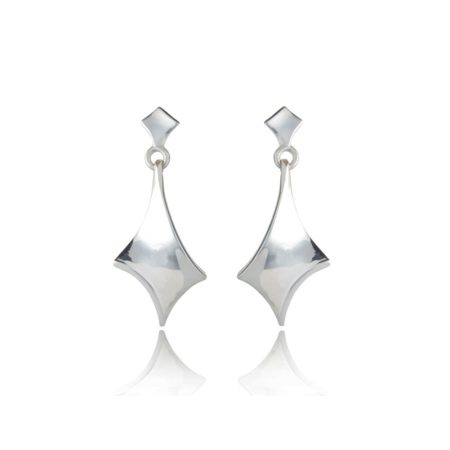 Twist silver short drop earrings