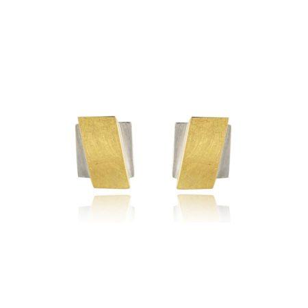 Two-tone overlap earrings