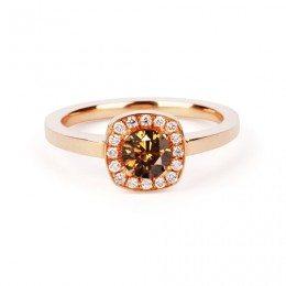 chocolate diamond halo engagement ring rose gold