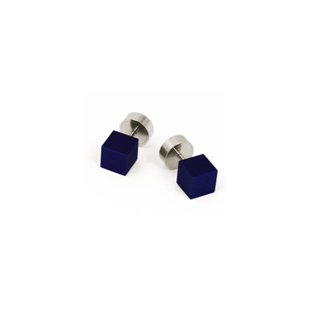 Cube stud earrings - blue