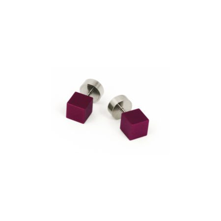 Cube stud earrings - purple