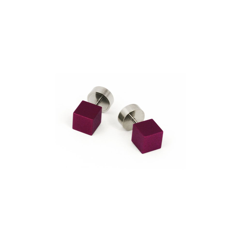 Cube stud earrings - purple