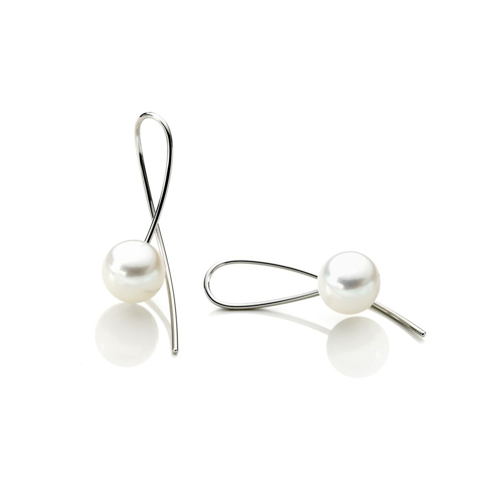 Curved drop pearl earrings- steel