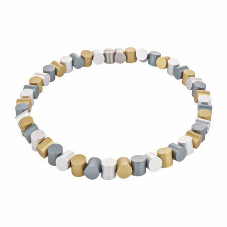 Cylinder neckpiece - gold and grey