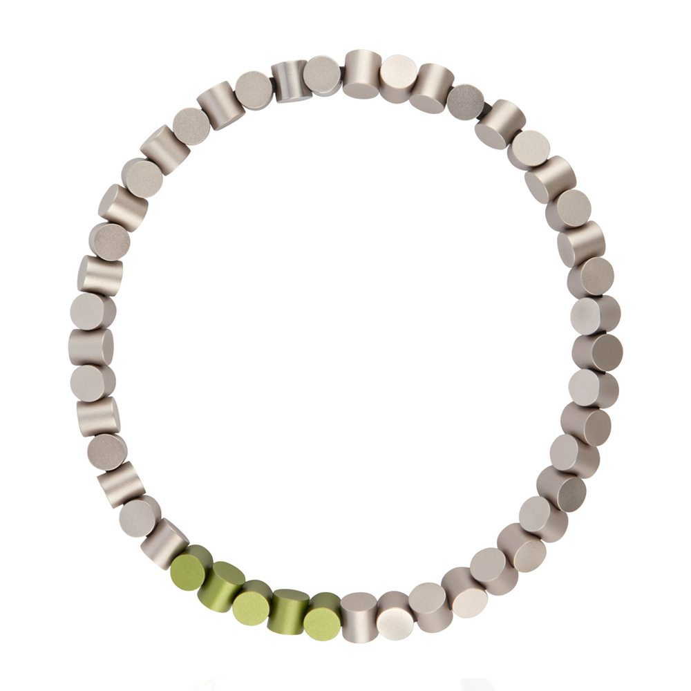 Cylinder neckpiece - grey and green