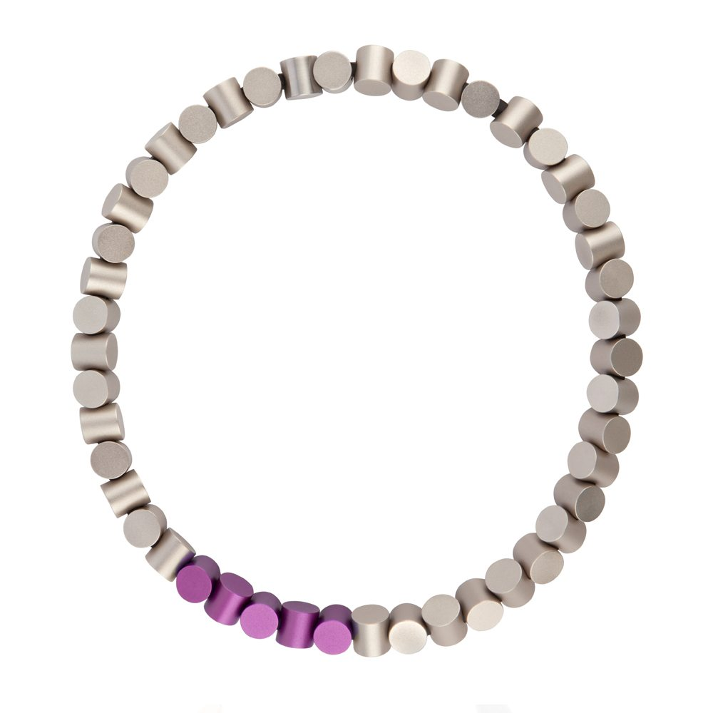 Cylinder neckpiece - grey and purple