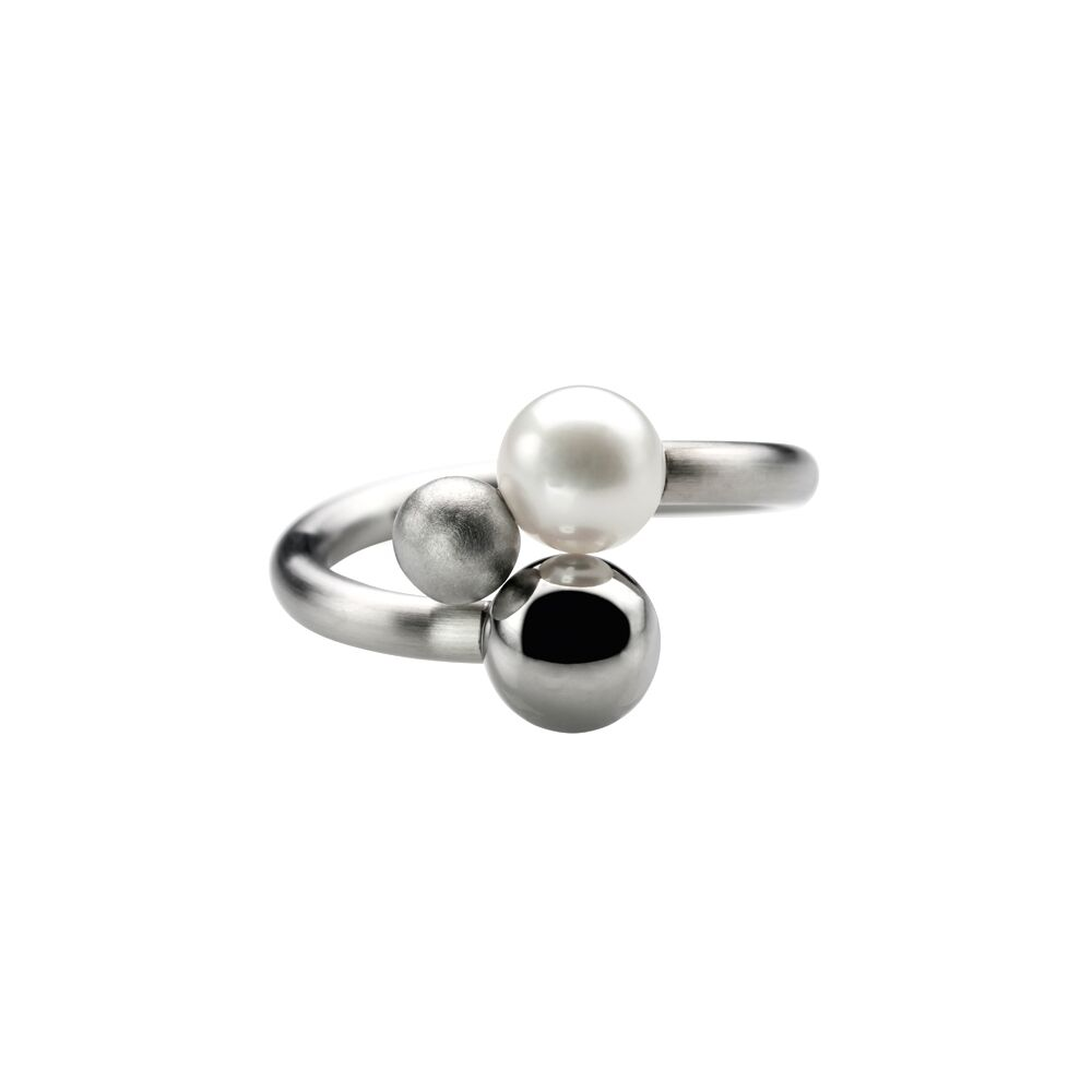 Double steel and pearl ring