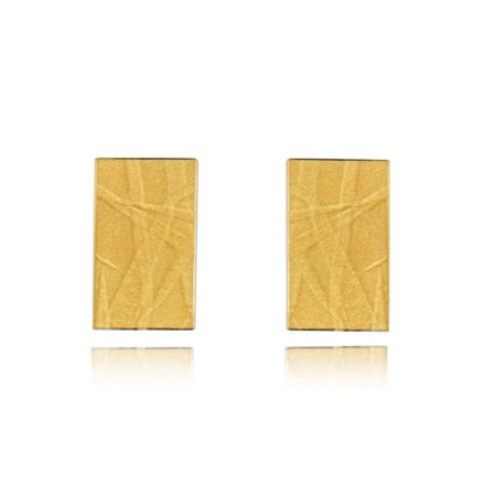 Fine gold rectangle earrings