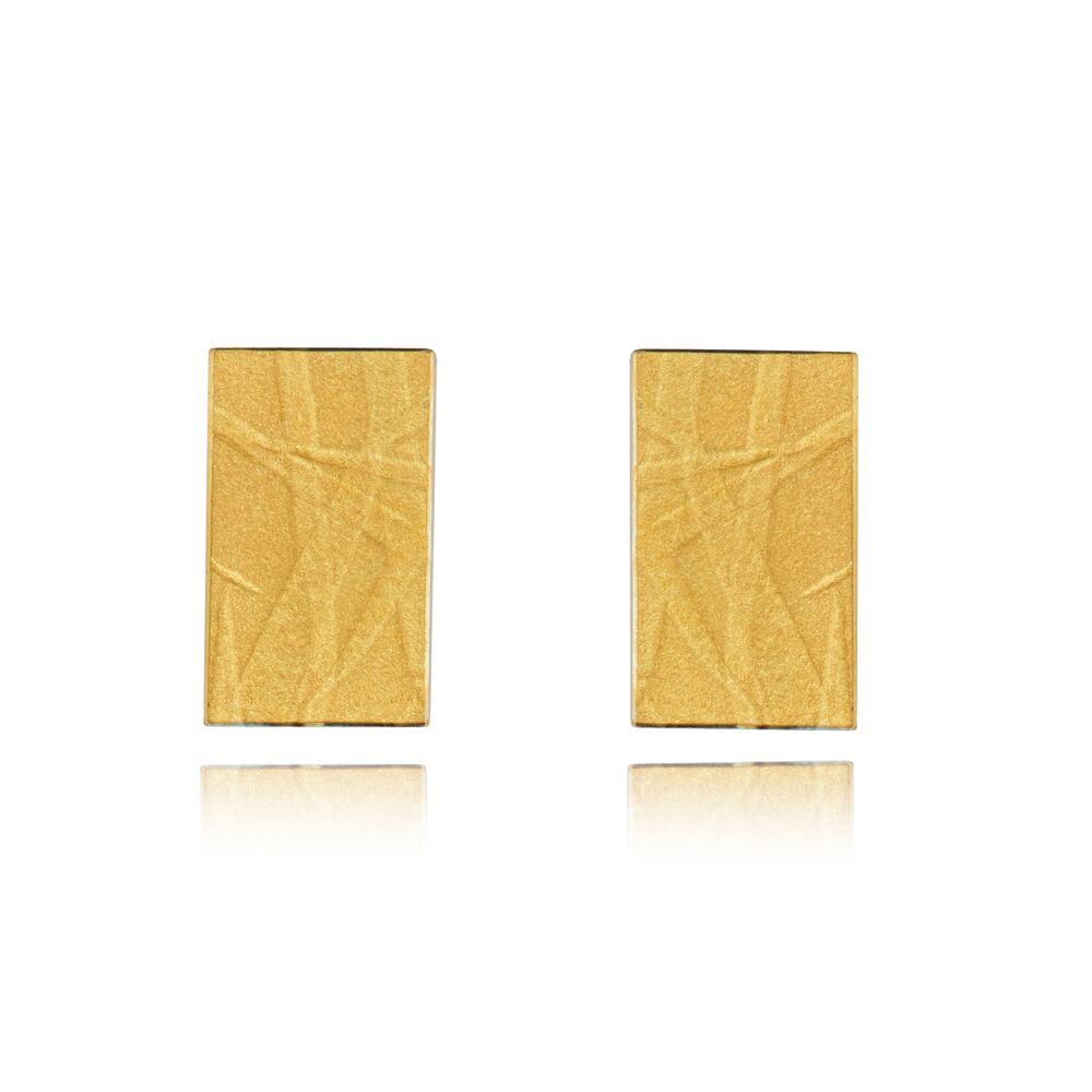Fine gold rectangle earrings