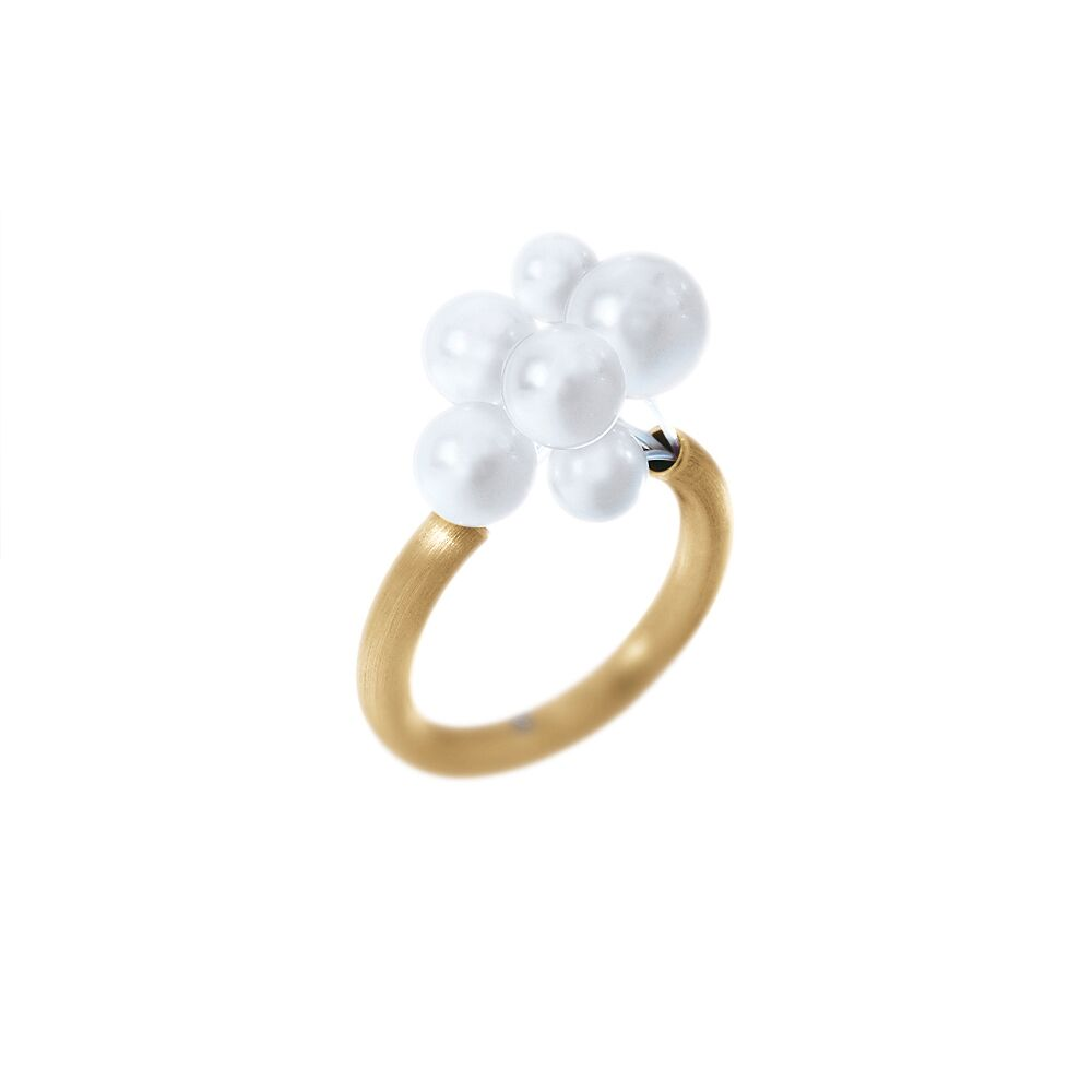 Gold and pearl cloud ring