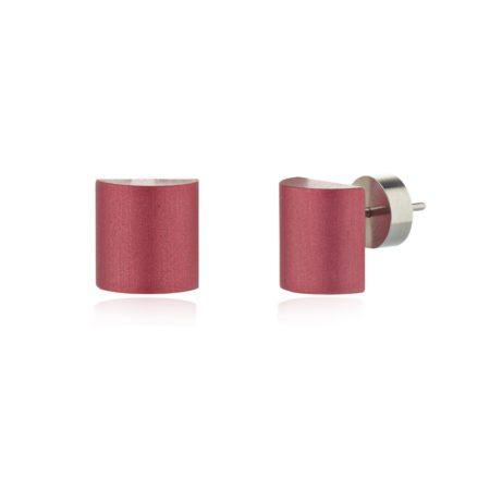 Half barrel stud earrings - blush