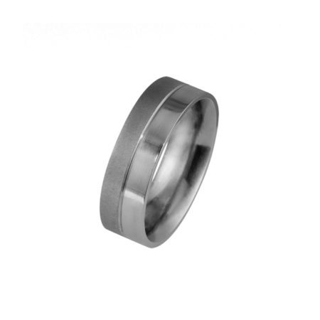 Half textured - half polished titanium men's wedding ring