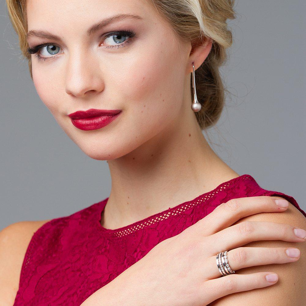 Juliet rings - Long drop grey earrings