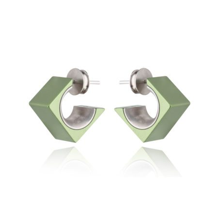 Large square stud earrings - green