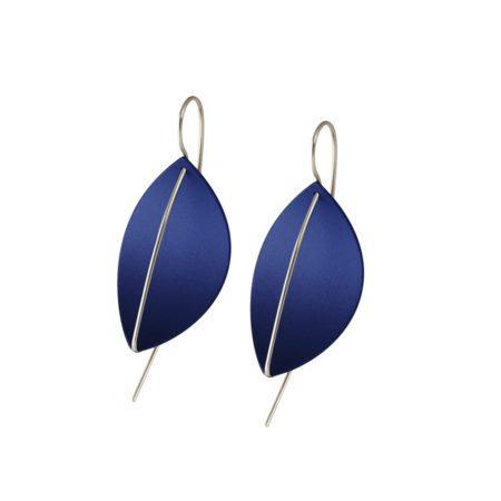 silver Leaf drop earrings - dark blue