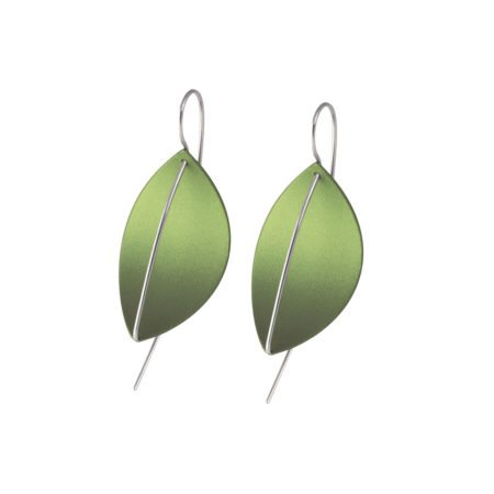 silver Leaf drop earrings - green