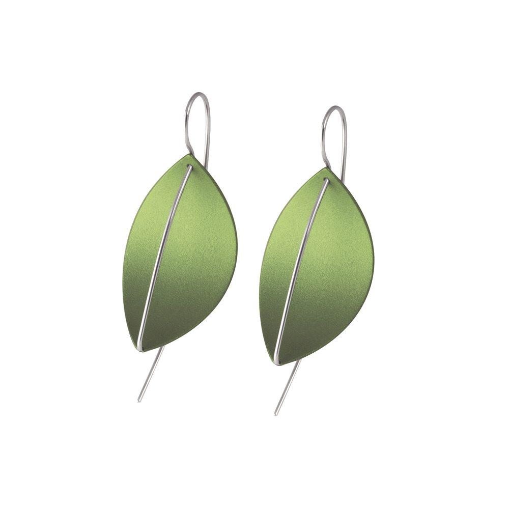 silver Leaf drop earrings - green