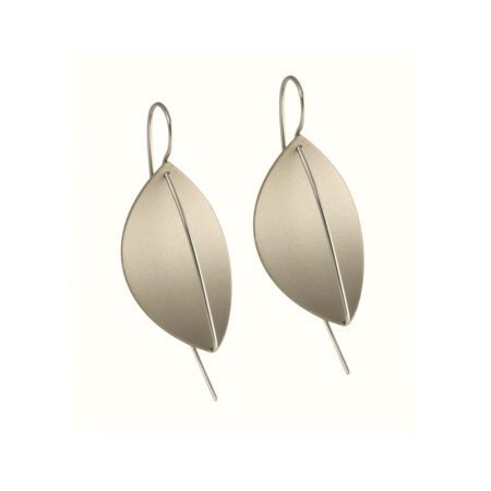 Leaf drop earrings - grey