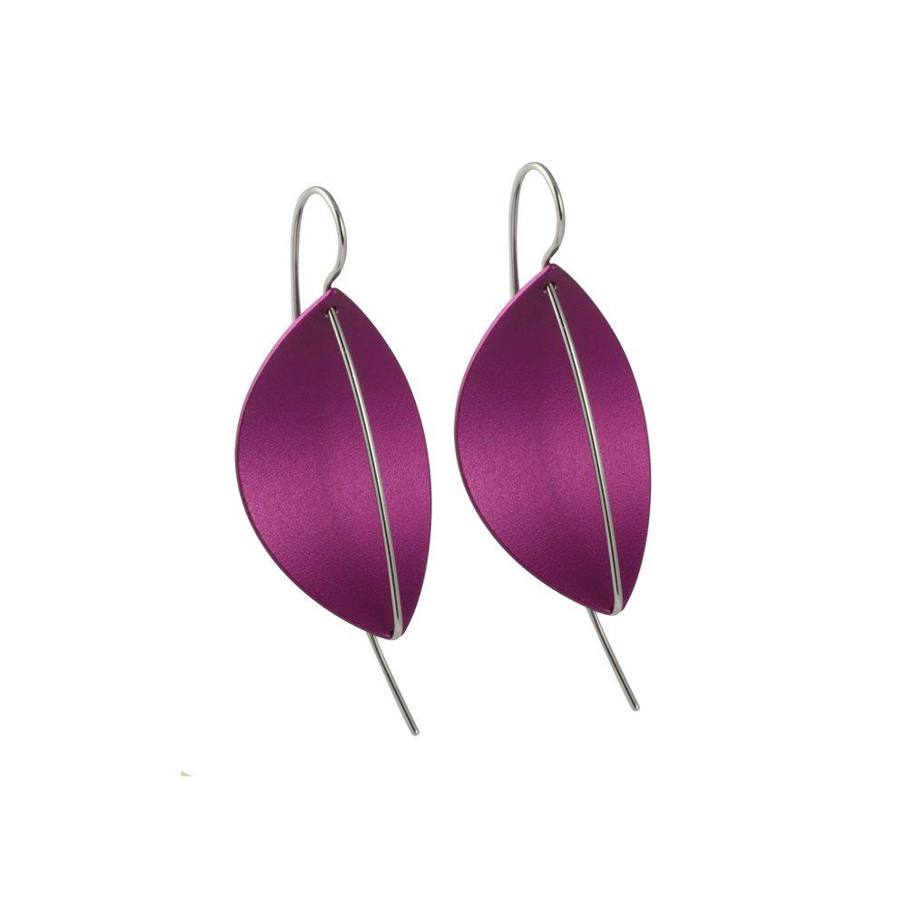 Leaf drop earrings - purple