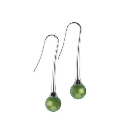 silver Long drop round earrings - green