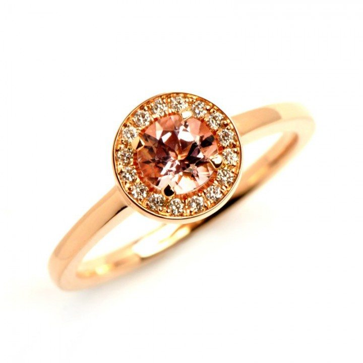 round morganite engagement ring with diamonds