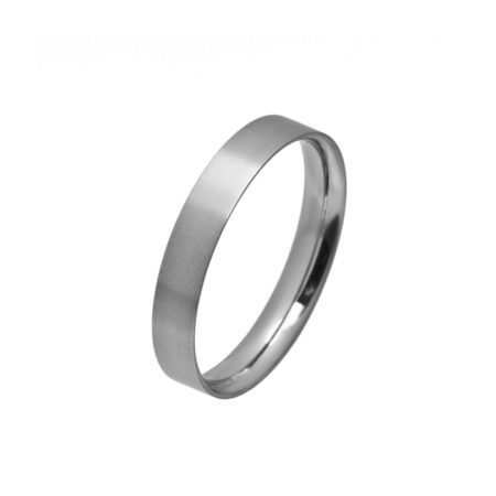 Narrow flat titanium men's wedding ring