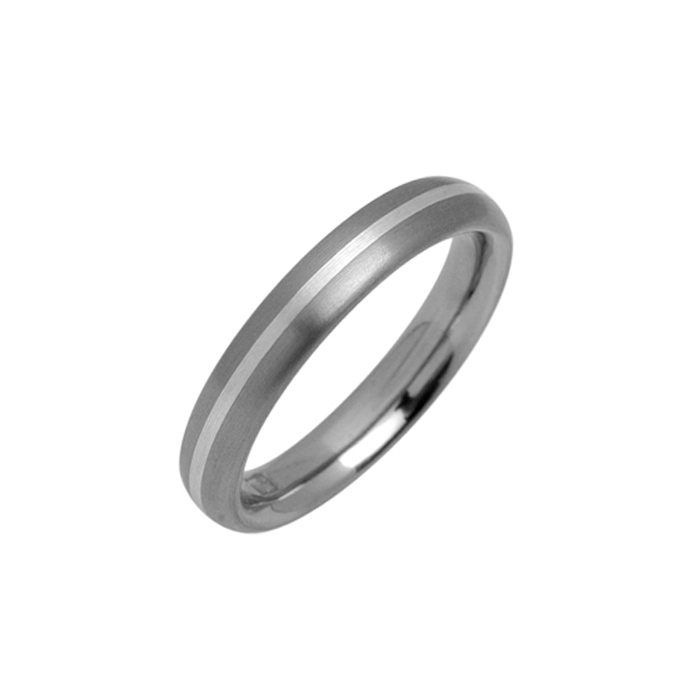 Narrow titanium ring with silver inlay