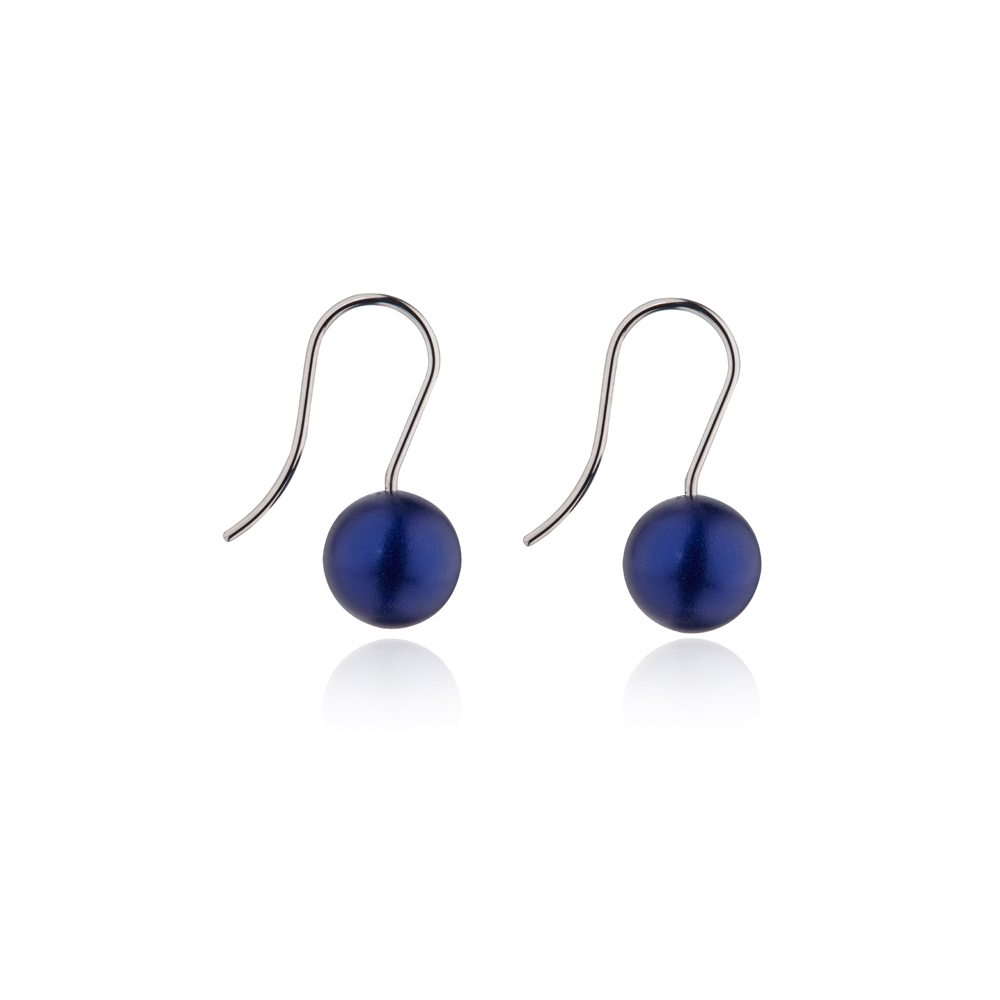 silver Round drop earrings - blue
