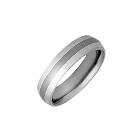 Silver curved ring with titanium inlay