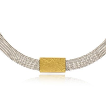 Silver mesh with rectangle pendant_detail