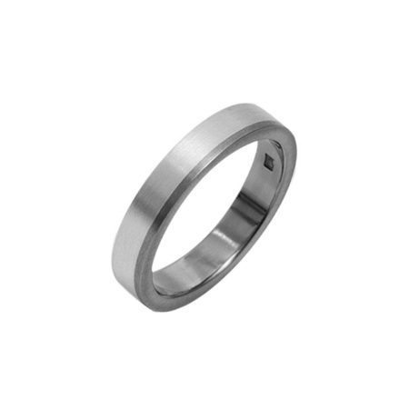 Silver ring with offset titanium