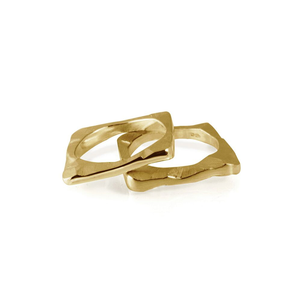 Square shard ring gold