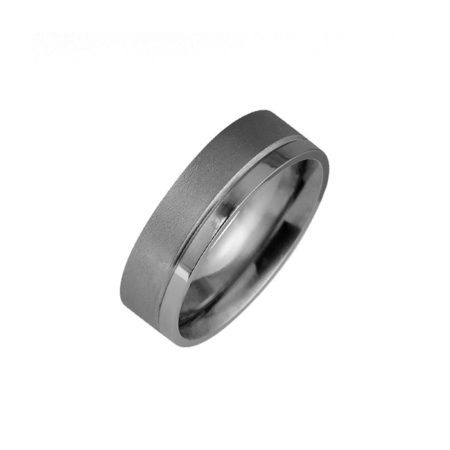 Textured and polished titanium ring