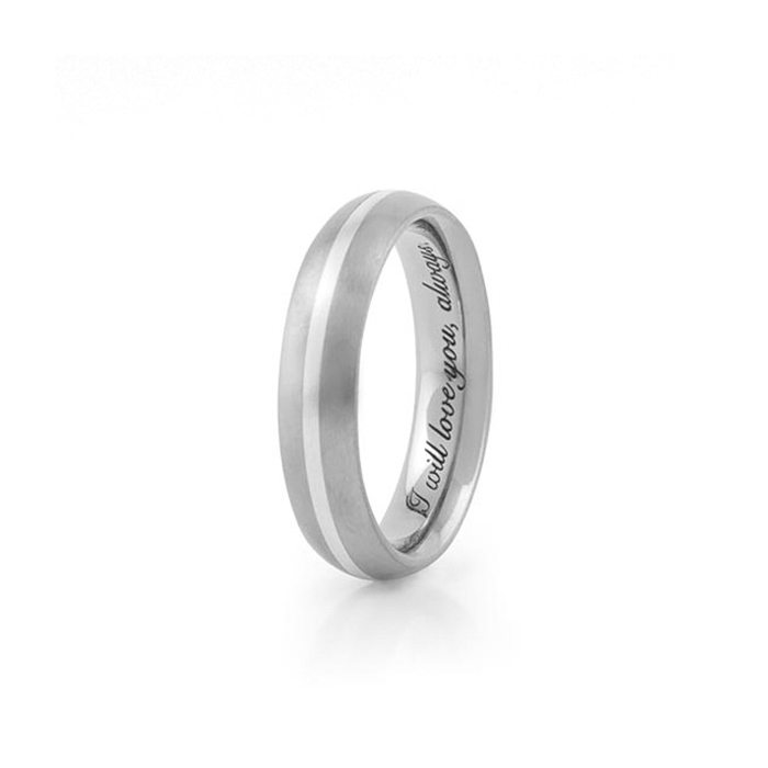 Titanium and silver wedding ring with engraving