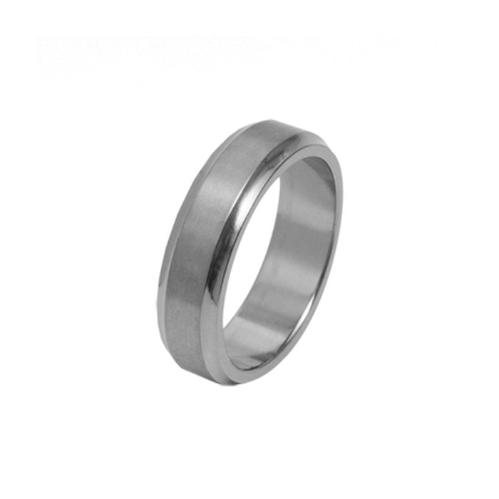 wide Titanium wedding ring with concave edges