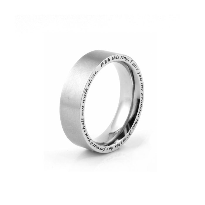 men's Titanium wedding ring with edge engraved