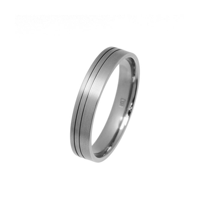 Titanium ring with offset grooves