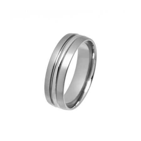 Titanium ring with polished section