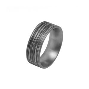 wide men's Titanium wedding ring with black grooves