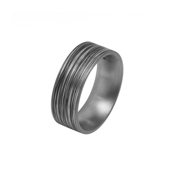 Titanium ring with random black grooves