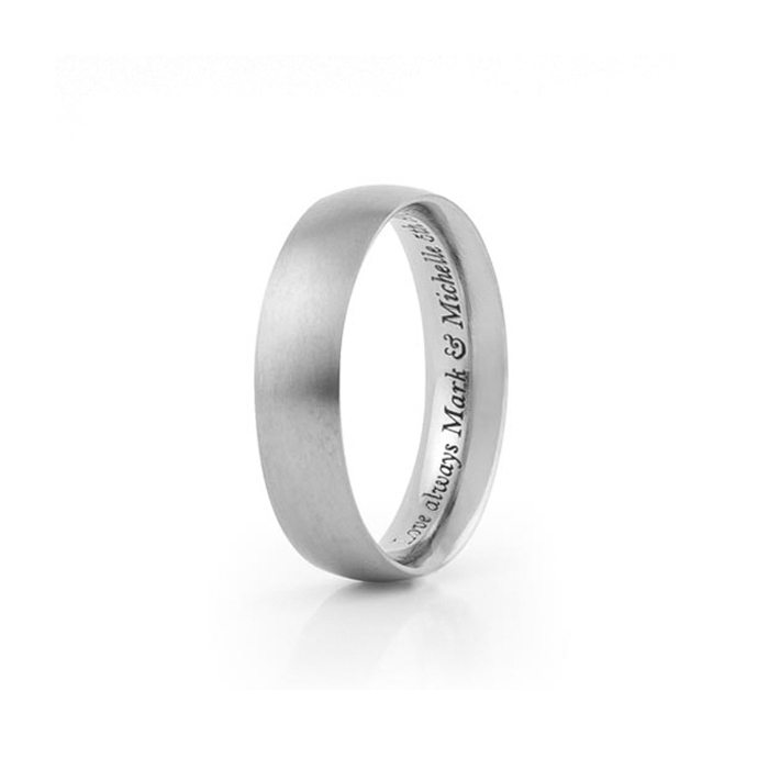 Titanium wedding ring with simple engraving