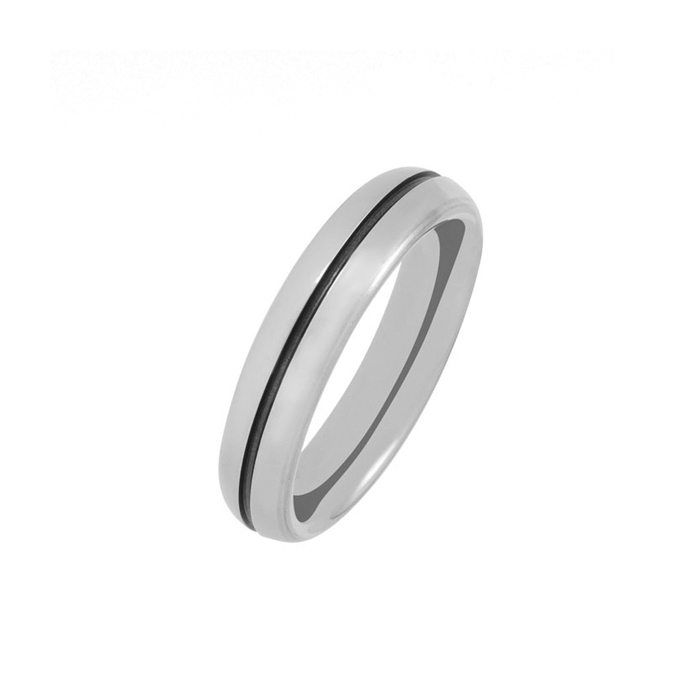 Titanium wedding ring with single black groove