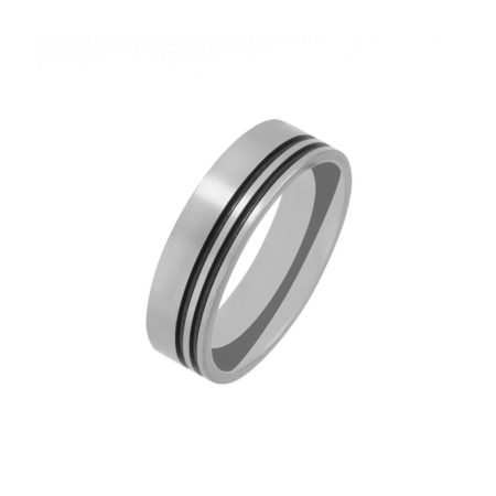 Titanium men's wedding band with two black grooves