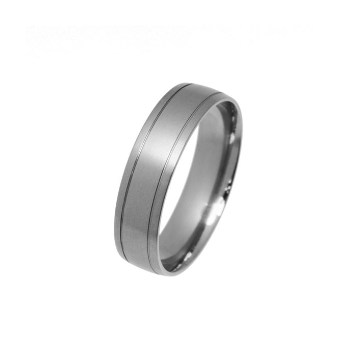 Titanium men's marriage ring with two grooves